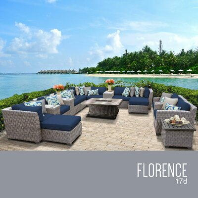 Florence Outdoor 17 Piece Wicker Conversation Set with Cushions Cushion Color: Navy