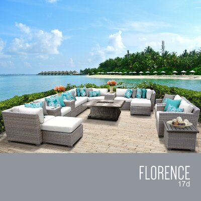 Florence Outdoor 17 Piece Wicker Conversation Set with Cushions Cushion Color: Sail White