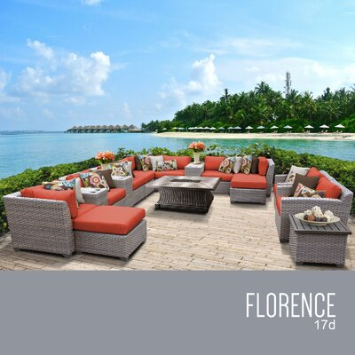 Florence Outdoor 17 Piece Wicker Conversation Set with Cushions Cushion Color: Tangerine