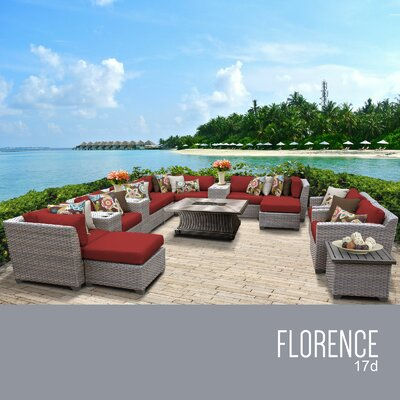 Florence Outdoor 17 Piece Wicker Conversation Set with Cushions Cushion Color: Terracotta
