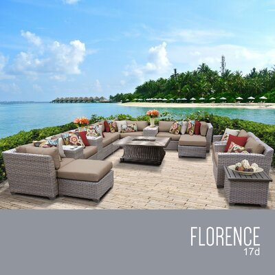 Florence Outdoor 17 Piece Wicker Conversation Set with Cushions Cushion Color: Wheat