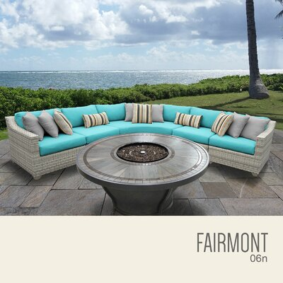 Fairmont  Outdoor 6 Piece Wicker Sectional Set with Cushions Cushion Color: Aruba