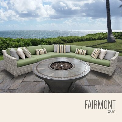 Fairmont  Outdoor 6 Piece Wicker Sectional Set with Cushions Cushion Color: Cilantro