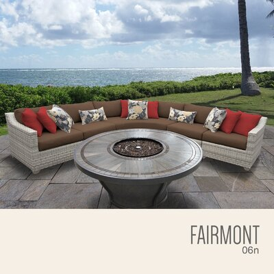 Fairmont  Outdoor 6 Piece Wicker Sectional Set with Cushions Cushion Color: Cocoa