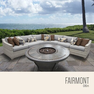 Fairmont  Outdoor 6 Piece Wicker Sectional Set with Cushions Cushion Color: Gray