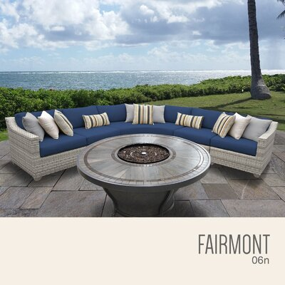Fairmont  Outdoor 6 Piece Wicker Sectional Set with Cushions Cushion Color: Navy