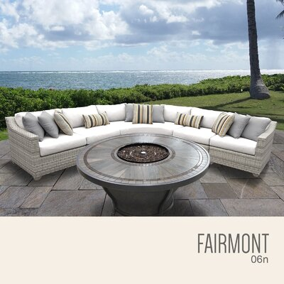 Fairmont  Outdoor 6 Piece Wicker Sectional Set with Cushions Cushion Color: Sail White