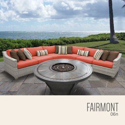 Fairmont  Outdoor 6 Piece Wicker Sectional Set with Cushions Cushion Color: Tangerine