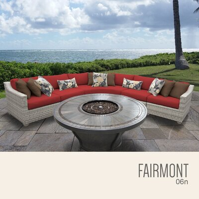Fairmont  Outdoor 6 Piece Wicker Sectional Set with Cushions Cushion Color: Terracotta