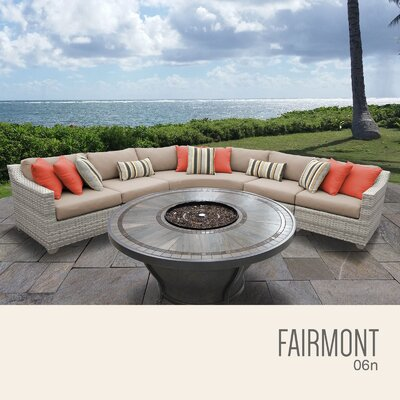 Fairmont  Outdoor 6 Piece Wicker Sectional Set with Cushions Cushion Color: Wheat