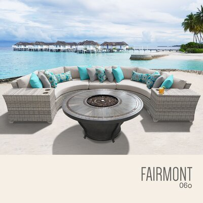 Fairmont Outdoor 6 Piece Wicker Sectional Set with Cushions Cushion Color: Beige