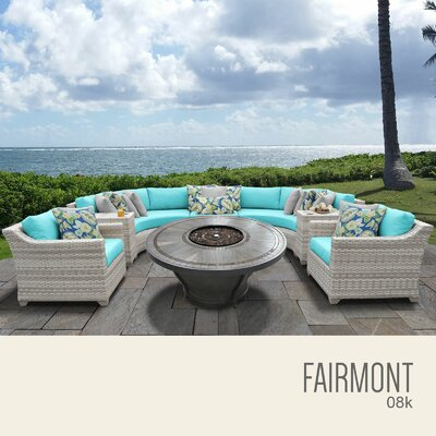 Fairmont Outdoor 8 Piece Wicker Sectional Set with Cushions Cushion Color: Aruba