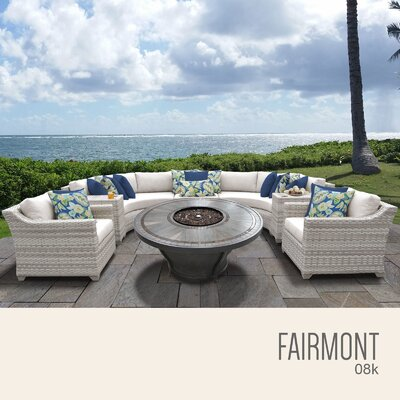 Fairmont Outdoor 8 Piece Wicker Sectional Set with Cushions Cushion Color: Beige