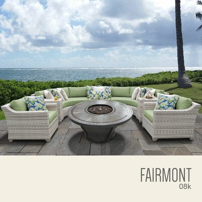 Fairmont Outdoor 8 Piece Wicker Sectional Set with Cushions Cushion Color: Cilantro