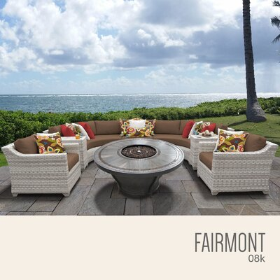 Fairmont Outdoor 8 Piece Wicker Sectional Set with Cushions Cushion Color: Cocoa