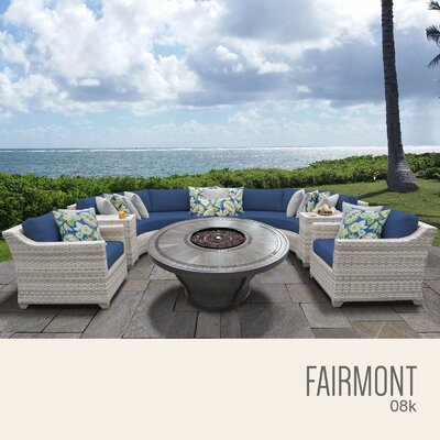 Fairmont Outdoor 8 Piece Wicker Sectional Set with Cushions Cushion Color: Navy