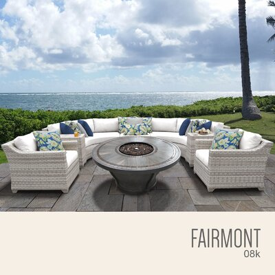 Fairmont Outdoor 8 Piece Wicker Sectional Set with Cushions Cushion Color: Sail White