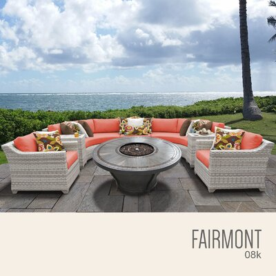Fairmont Outdoor 8 Piece Wicker Sectional Set with Cushions Cushion Color: Tangerine