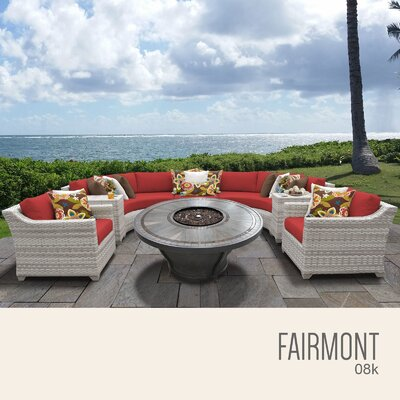 Fairmont Outdoor 8 Piece Wicker Sectional Set with Cushions Cushion Color: Terracotta