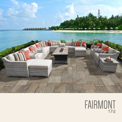 Fairmont Outdoor 17 Piece Wicker Conversation Set with Cushions Cushion Color: Beige