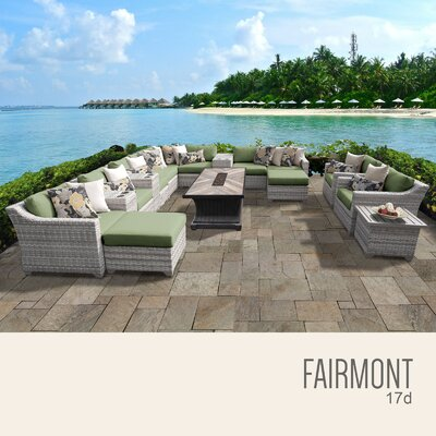 Fairmont Outdoor 17 Piece Wicker Conversation Set with Cushions Cushion Color: Cilantro