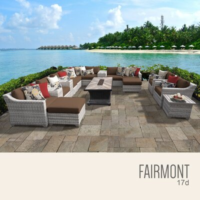 Fairmont Outdoor 17 Piece Wicker Conversation Set with Cushions Cushion Color: Cocoa