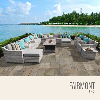 Fairmont Outdoor 17 Piece Wicker Conversation Set with Cushions Cushion Color: Gray