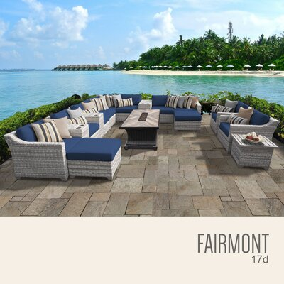 Fairmont Outdoor 17 Piece Wicker Conversation Set with Cushions Cushion Color: Navy