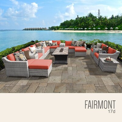 Fairmont Outdoor 17 Piece Wicker Conversation Set with Cushions Cushion Color: Tangerine