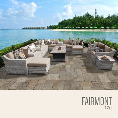 Fairmont Outdoor 17 Piece Wicker Conversation Set with Cushions Cushion Color: Wheat