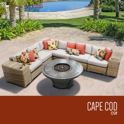 Cape Cod Outdoor 9 Piece Wicker Sectional Set with Cushions Cushion Color: Beige