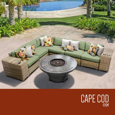 Cape Cod Outdoor 9 Piece Wicker Sectional Set with Cushions Cushion Color: Cilantro