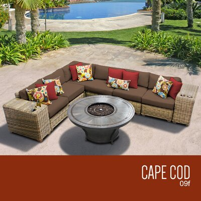 Cape Cod Outdoor 9 Piece Wicker Sectional Set with Cushions Cushion Color: Cocoa