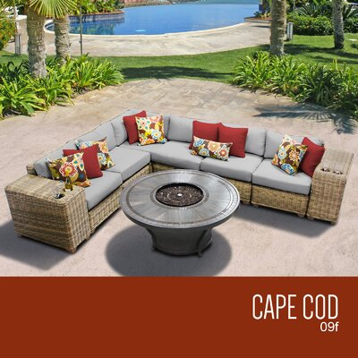 Cape Cod Outdoor 9 Piece Wicker Sectional Set with Cushions Cushion Color: Gray