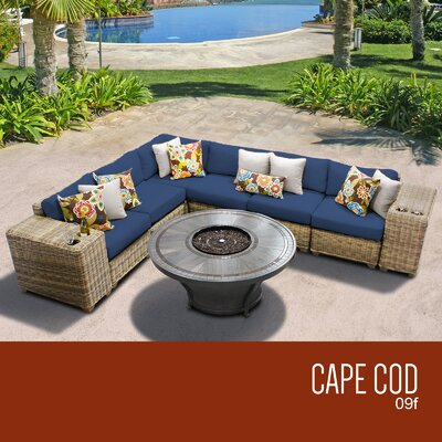 Cape Cod Outdoor 9 Piece Wicker Sectional Set with Cushions Cushion Color: Navy
