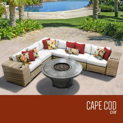 Cape Cod Outdoor 9 Piece Wicker Sectional Set with Cushions Cushion Color: Sail White