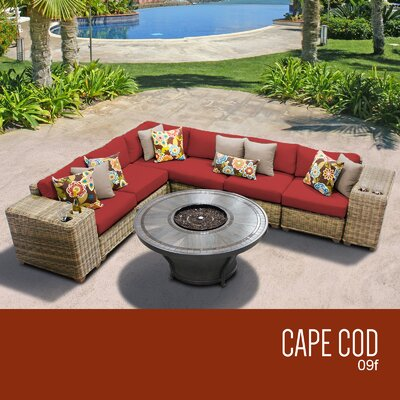 Cape Cod Outdoor 9 Piece Wicker Sectional Set with Cushions Cushion Color: Terracotta