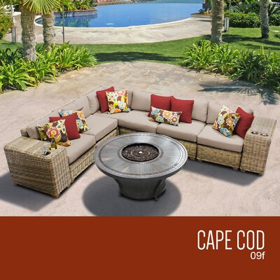 Cape Cod Outdoor 9 Piece Wicker Sectional Set with Cushions Cushion Color: Wheat