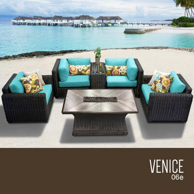 Venice Outdoor 6 Piece Wicker Sofa Set with Cushions Cushion Color: Aruba