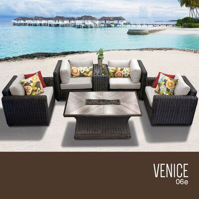 Venice Outdoor 6 Piece Wicker Sofa Set with Cushions Cushion Color: Beige