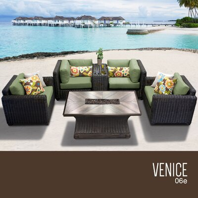 Venice Outdoor 6 Piece Wicker Sofa Set with Cushions Cushion Color: Cilantro