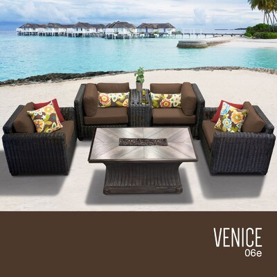 Venice Outdoor 6 Piece Wicker Sofa Set with Cushions Cushion Color: Cocoa