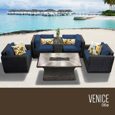 Venice Outdoor 6 Piece Wicker Sofa Set with Cushions Cushion Color: Navy