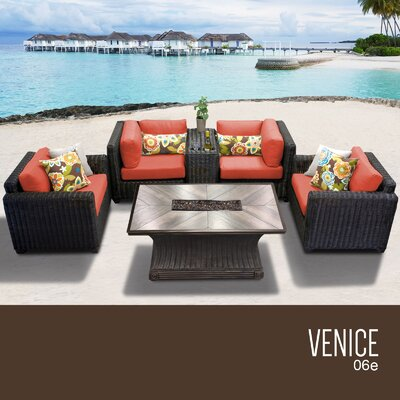 Venice Outdoor 6 Piece Wicker Sofa Set with Cushions Cushion Color: Tangerine