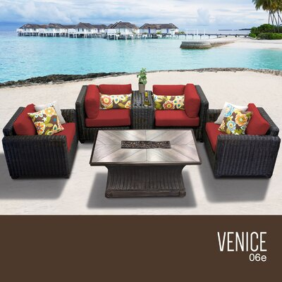 Venice Outdoor 6 Piece Wicker Sofa Set with Cushions Cushion Color: Terracotta