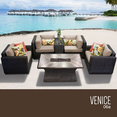 Venice Outdoor 6 Piece Wicker Sofa Set with Cushions Cushion Color: Wheat