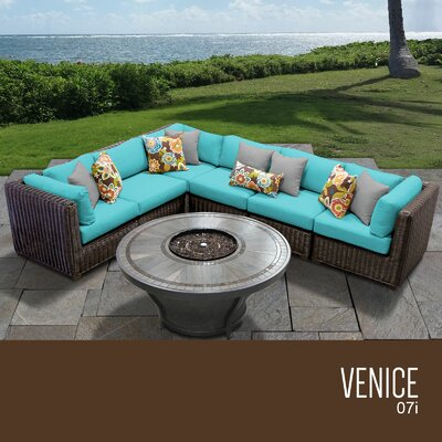 Venice Outdoor 7 Piece Wicker Sectional Set with Cushions Cushion Color: Aruba