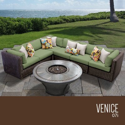 Venice Outdoor 7 Piece Wicker Sectional Set with Cushions Cushion Color: Cilantro