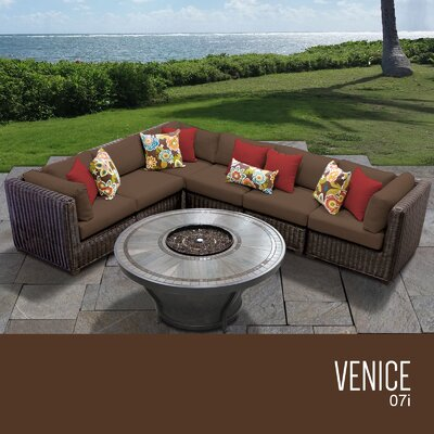 Venice Outdoor 7 Piece Wicker Sectional Set with Cushions Cushion Color: Cocoa