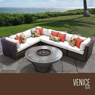 Venice Outdoor 7 Piece Wicker Sectional Set with Cushions Cushion Color: Sail White